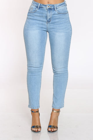 Women's Slim Straight High Rise Jean - Light Blue-VIM.COM