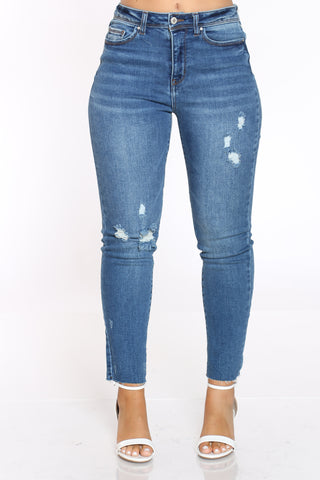 Women's Slim Straight Ripped High Rise Jean - Dark Blue-VIM.COM