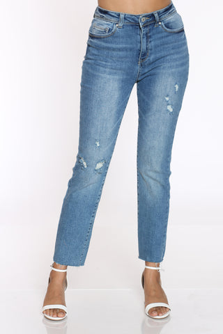 Women's Slim Straight Ripped High Rise Jean - Medium Blue-VIM.COM