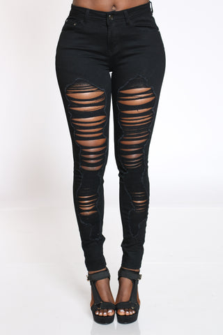 Women's Ripped Highrise Skinny Jean - Black-VIM.COM