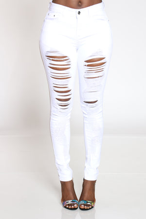 Women's Ripped Highrise Skinny Jean - White-VIM.COM