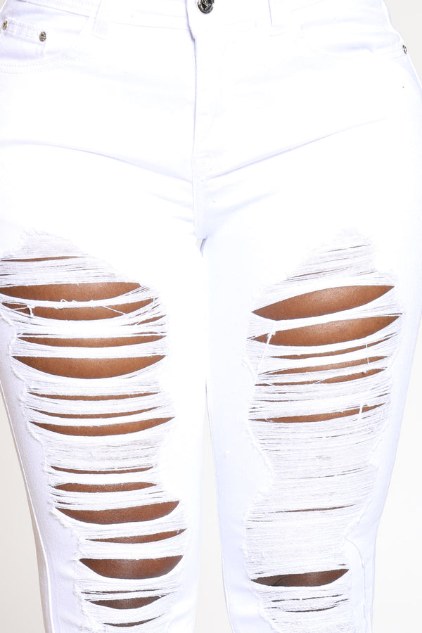 Women's Ripped Highrise Skinny Jean - White