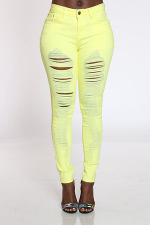 Women's Ripped Highrise Jean - Yellow-VIM.COM