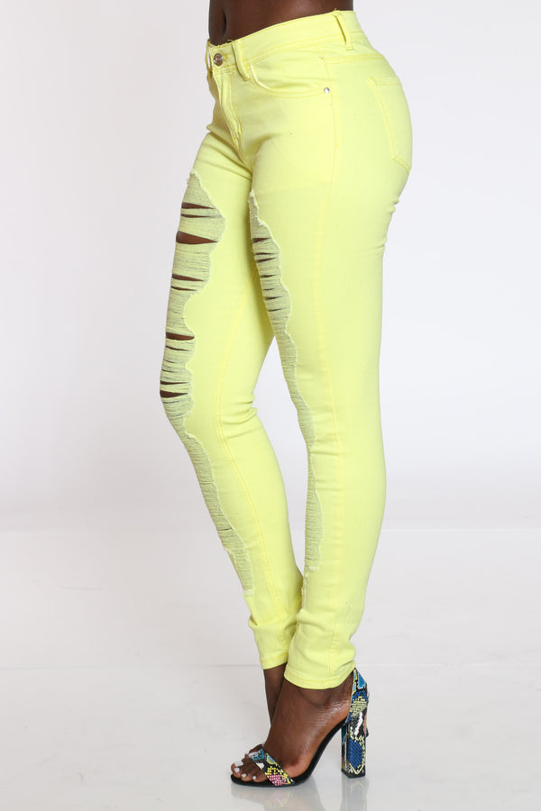 Women's Ripped High Rise Jean - Yellow