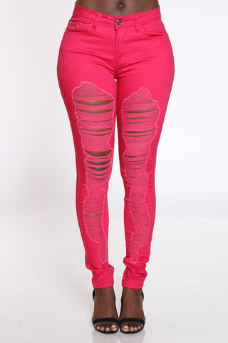 Women's Ripped Highrise Skinny Jean - Hot Pink-VIM.COM