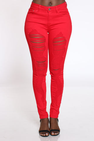 Women's Ripped Highrise Jean - Red