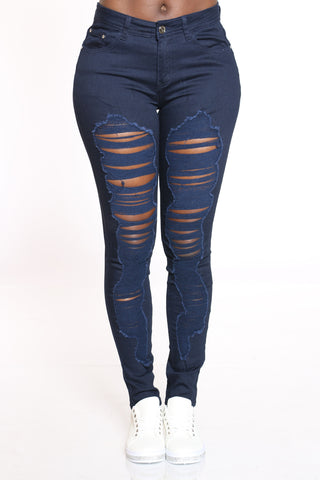 Women's Ripped Highrise Jean - Navy-VIM.COM