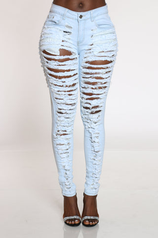 Women's Heavy Ripped Front & Back Jean - Light Blue-VIM.COM