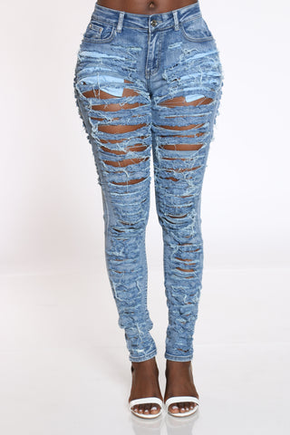 Women's Heavy Ripped Front & Back Jean - Medium Blue-VIM.COM