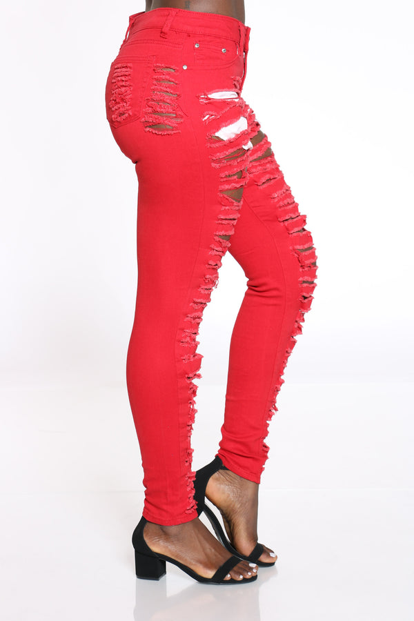 Women's Heavy Ripped Front & Back Jean - Red