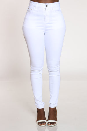 Women's Highwaist Skinny Jean - White-VIM.COM