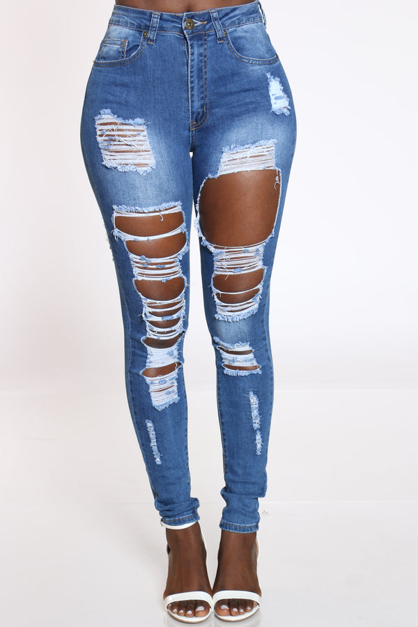 Women's Ripped Highwaist Jean - Medium Blue-VIM.COM