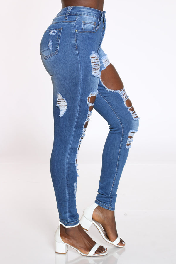 Women's Ripped Highwaist Jean - Medium Blue