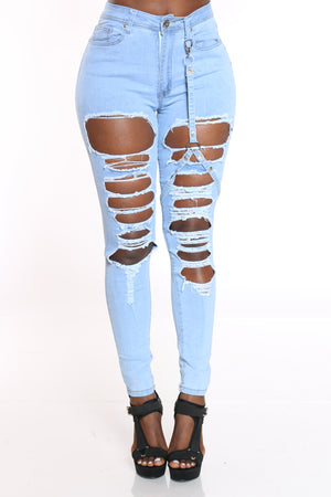 Women's Ripped Skinny Strap Jean - Light Blue-VIM.COM
