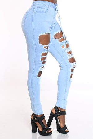 Women's Ripped Skinny Strap Jean - Light Blue