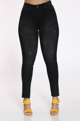 Women's Ripped Skinny Jean - Faded Black