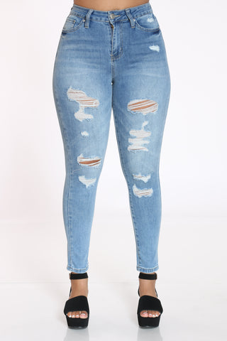 Women's Ripped Skinny Jean - Medium Blue
