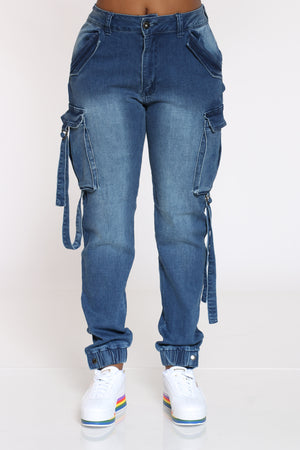 Women's Multi Cargo Pocket Hi Rise Jean - Medium Blue-VIM.COM