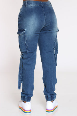 Women's Multi Cargo Pocket Hi Rise Jean - Medium Blue
