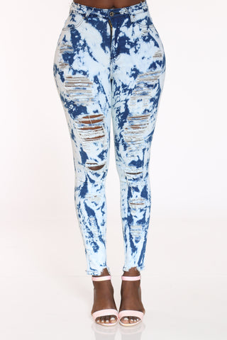 Women's Heavy Ripped Tie Dye Jean - Blue-VIM.COM