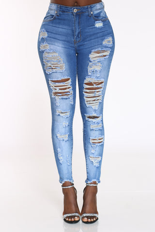 Women's Front & Back Ripped Jean - Medium Blue-VIM.COM