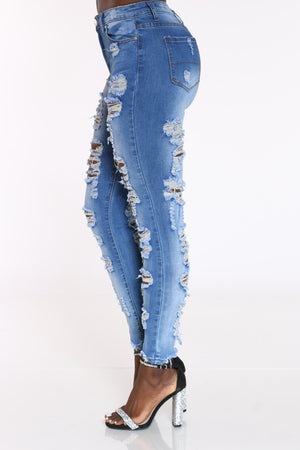 Women's Front & Back Ripped Jean - Medium Blue