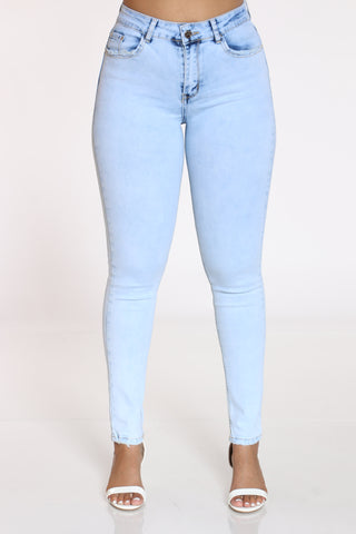 Women's Crinkle & Blasting Jean - Light Blue-VIM.COM