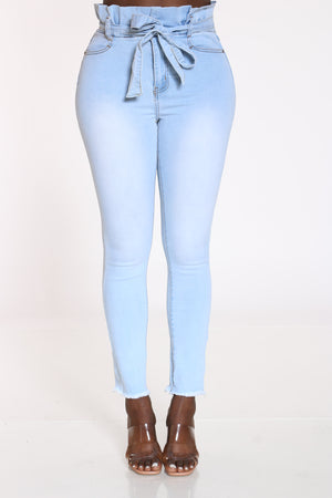 Women's Front Tie High Waist Jean - Ice Blue-VIM.COM