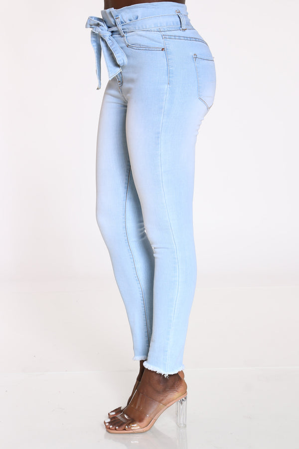 Women's Front Tie High Waist Jean - Ice Blue