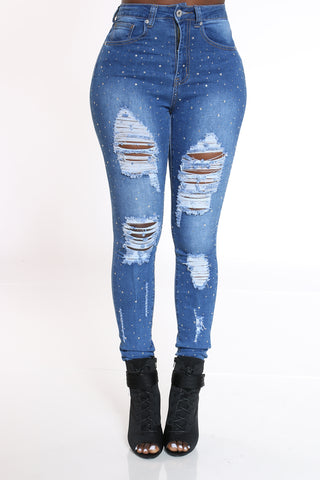 Women's Rhinestone & Ripped Jean - Medium Blue-VIM.COM