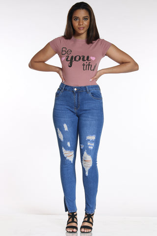 Women's Ripped Split Ankle Jean - Medium Blue-VIM.COM