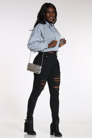 Women's Slit Ripped Jean - Black-VIM.COM
