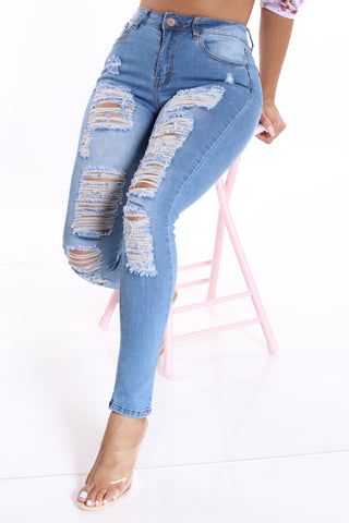 One In A Million Ripped Jean - Light Blue-VIM.COM