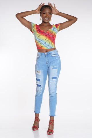 Diane Ripped Jean - Light Blue-VIM.COM