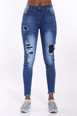 Diane Ripped Jean - Dark Blue-VIM.COM