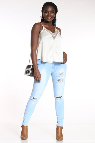 Women's Pearls & Ripped Legs Jean - Light Blue-VIM.COM