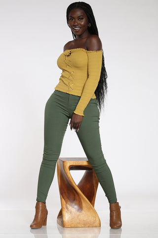 Women's High Waist Hyper Stretch Jean - Olive-VIM.COM