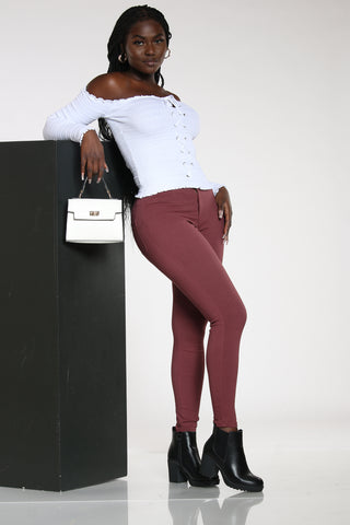 Women's High Waist Hyper Stretch Jean - Burgundy-VIM.COM
