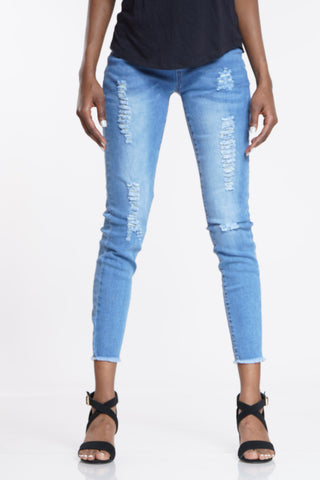 Angela Fray Hem Jean - Medium Blue-VIM.COM