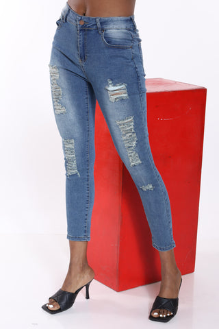 Angela Fray Hem Jean - Dirty Blue-VIM.COM