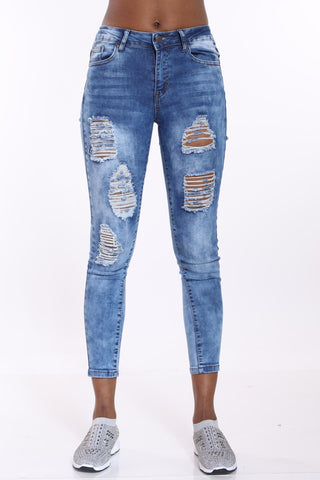Forgive Me Not Ripped Jean - Dark Blue-VIM.COM