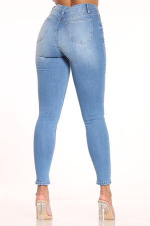 Women's Ripped Curvy Fit Skinny Jean - Medium Blue