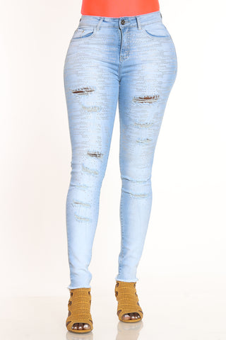 So Stunning Rhinestone Ripped Jean - Light Blue-VIM.COM