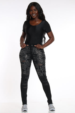 So Stunning Rhinestone Ripped Jean - Black-VIM.COM