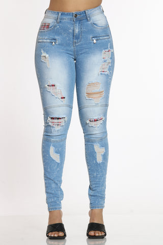 Oh Snap Ripped Jean - Medium Blue-VIM.COM