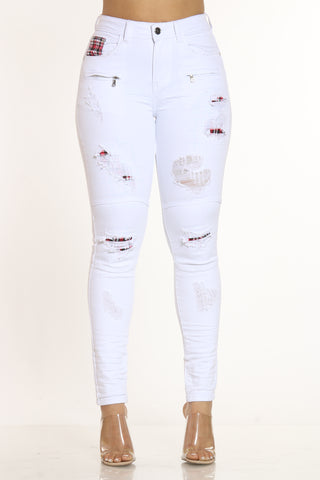 Oh Snap Ripped Jean - White-VIM.COM