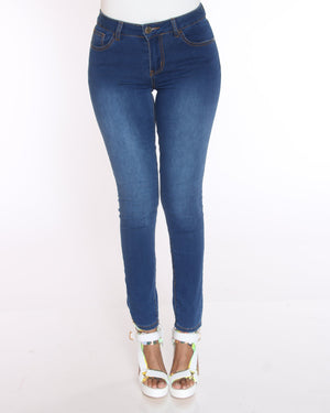 VIM VIXEN Ethel Classic Stretch Jean - Medium Blue - ShopVimVixen.com