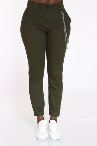 Women's Side Chain Jogger - Olive-VIM.COM