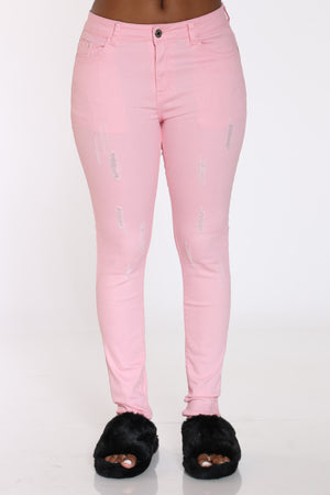 Women's Ripped Twill Pant - Pink-VIM.COM