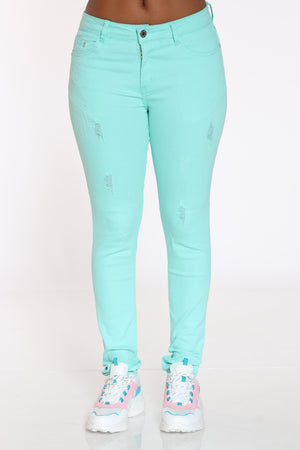 Women's Ripped Twill Pant - Mint-VIM.COM